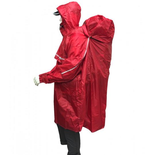 Poncho de randonnée imperméable Rain Stop Front Zip rouge CAMP