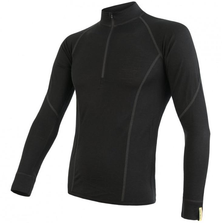 Tee-shirt homme laine Mérinos MERINO ACTIVE LS 1/4 ZIP noir SENSOR