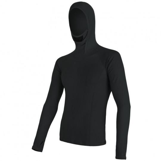 Tee-shirt homme laine Mérinos DOUBLE FACE HOODED noir SENSOR