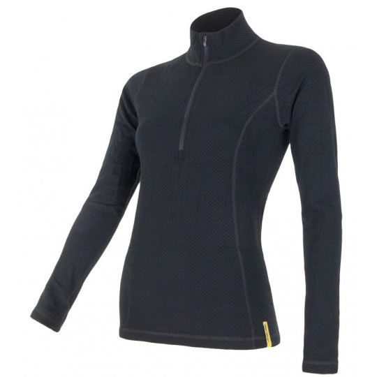 Tee-shirt femme laine Mérinos W'S DOUBLE FACE 1/4 ZIP noir SENSOR