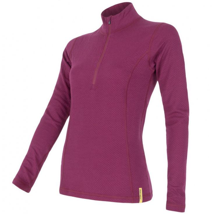 Tee-shirt femme laine Mérinos W'S DOUBLE FACE 1/4 ZIP lilla SENSOR