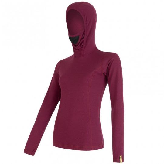 Tee-shirt femme laine Mérinos W'S DOUBLE FACE HOODED lilla SENSOR