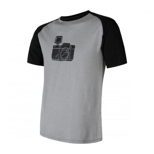 Tee-shirt laine Mérinos PT CAMERA gris SENSOR