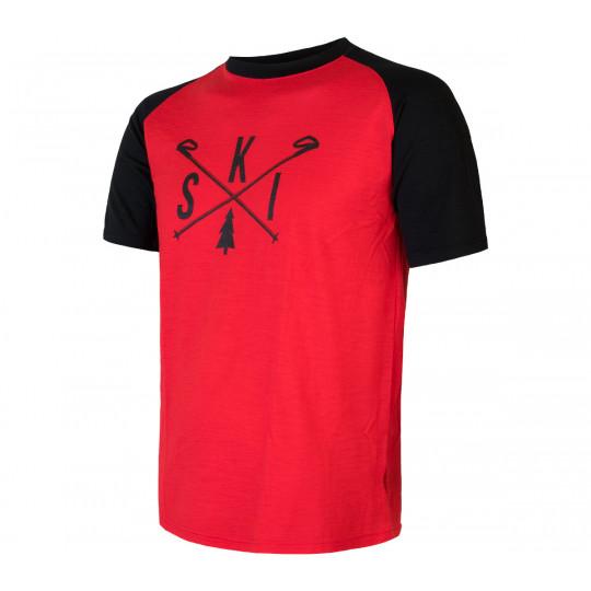 Tee-shirt laine Mérinos PT SKI rouge-noir SENSOR