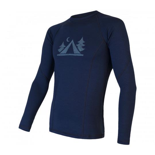 Tee-shirt homme laine Mérinos DOUBLE FACE LS deep-blue SENSOR