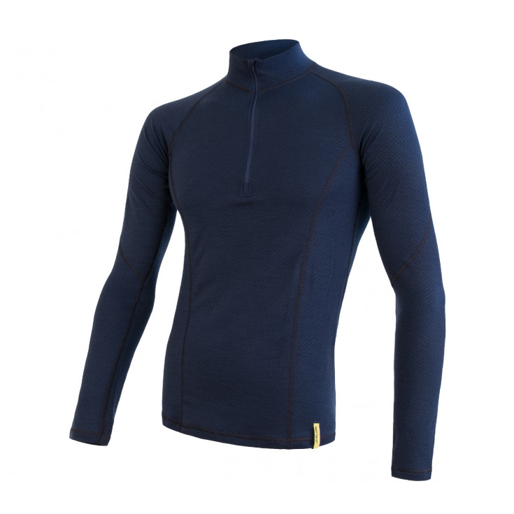 Tee-shirt homme laine Mérinos DOUBLE FACE 1/4 ZIP deep-blue SENSOR