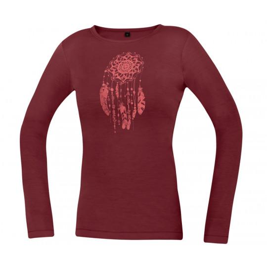 Tee-shirt laine Mérino femme FURRY LONG LADY palissander DirectAlpine