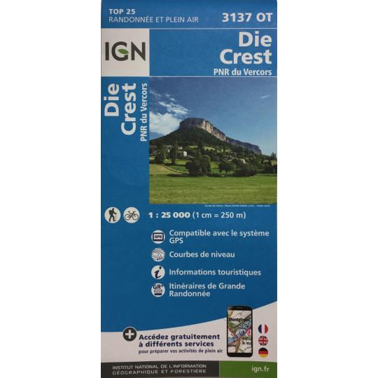 Carte TOP 25 IGN 3137 OT DIE-CREST 2021