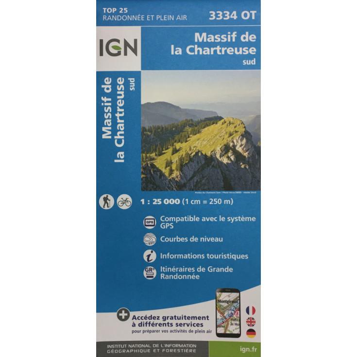 Carte TOP 25 IGN 3334 OT CHARTREUSE SUD 2021
