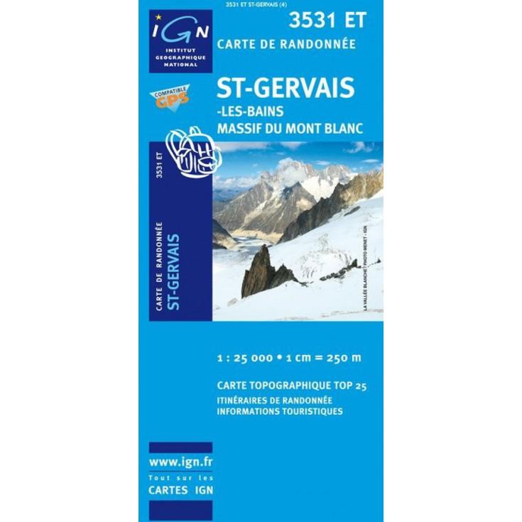 Carte TOP 25 IGN 3531 ET SAINT GERVAIS-MONT BLANC