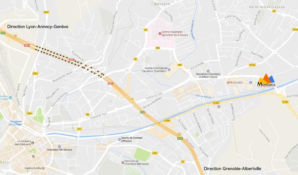 Plan accès Montania Sport sur Chambéry