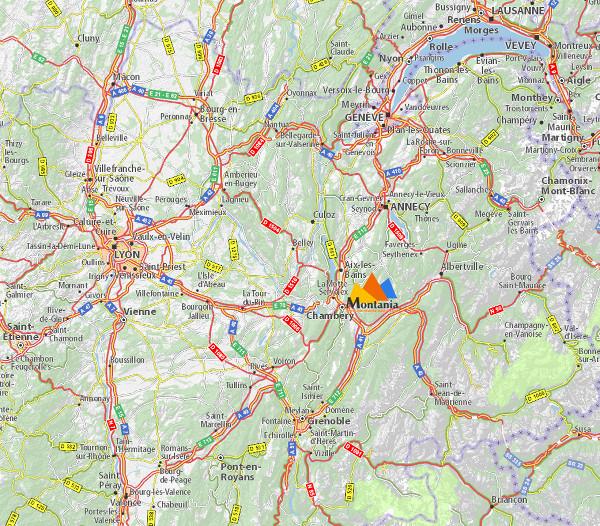 Plan d'accès Montania Sport Région Rhones-Alpes